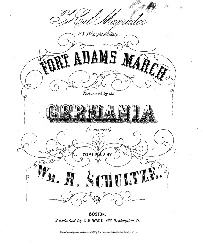 """""""Fort Adams March"""" Title Page"""