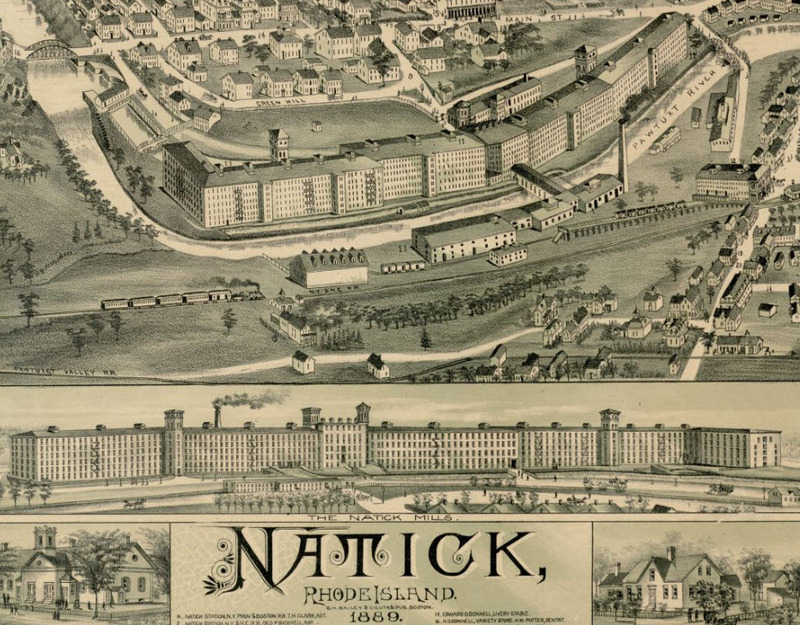 Lithograph of Natick Mill, 1889