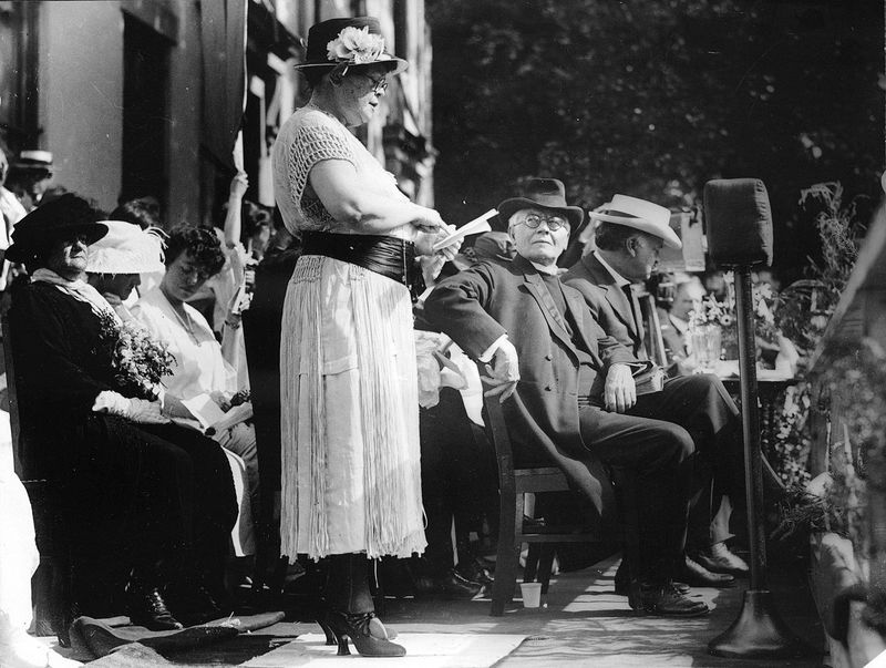 Alva Belmont at the dedication of the headquarters of the National Women's Party, 1922.
