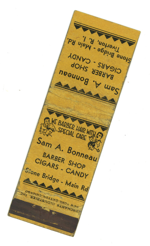 Bonneau Barber Shop Matchbook Cover