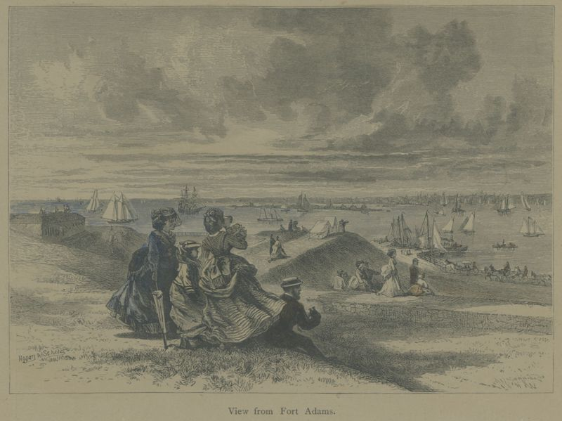 Colored Print of a View from Fort Adams